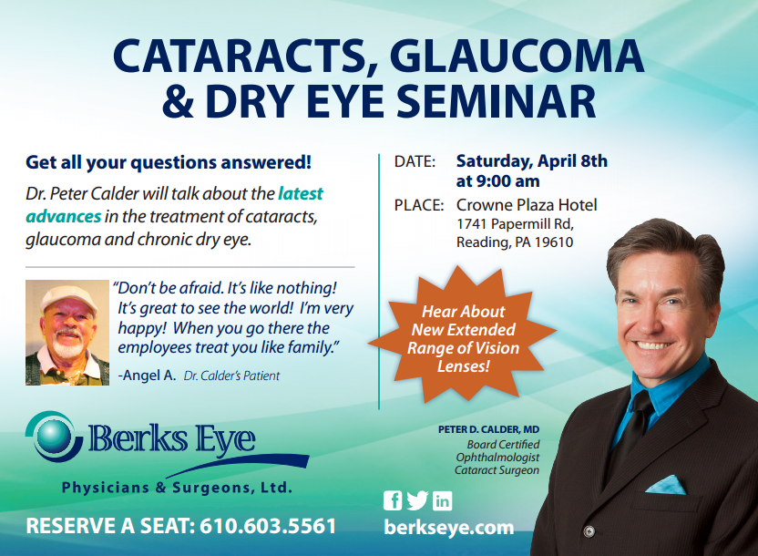 Cataracts, Glaucoma and Dry Eye Seminar with Dr. Peter Calder