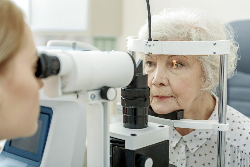 Patient receiving an eye exam